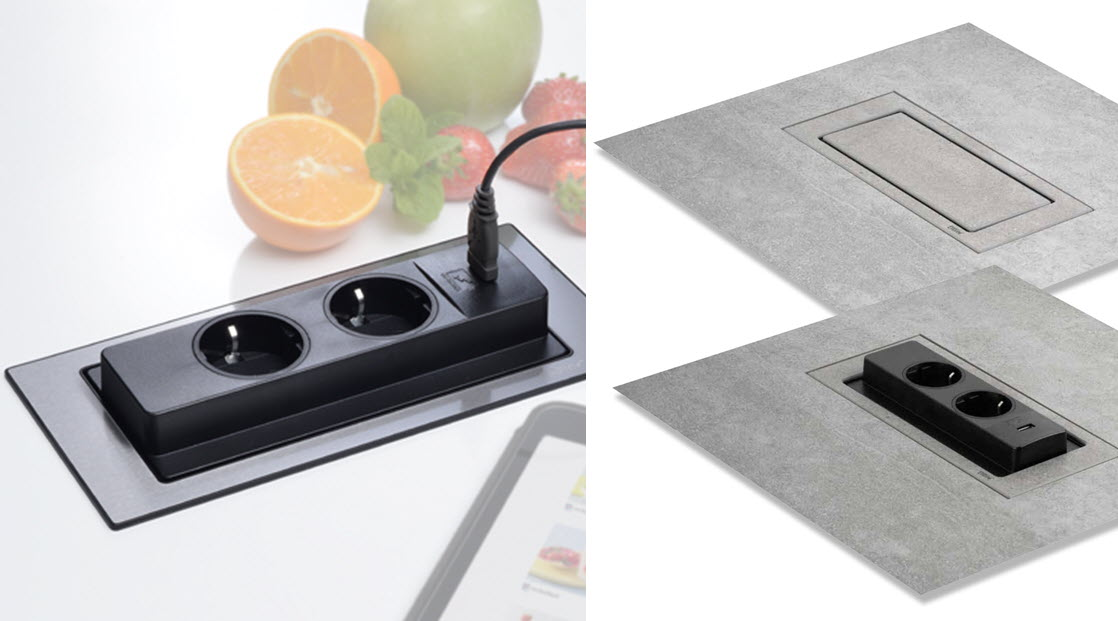 EVOline Worktop power Backflip On-Surface vs Flush - EVOlineStore