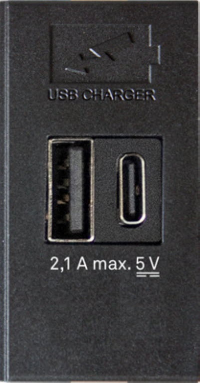 EVOline double USB charger Type-A + Type-C 2.1A 25x50