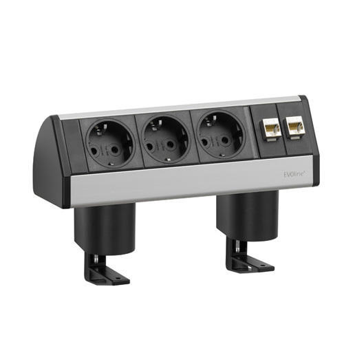 EVOline Dock DATA SMALL / 3x power / 2x RJ45 / no clamp / Silver-0