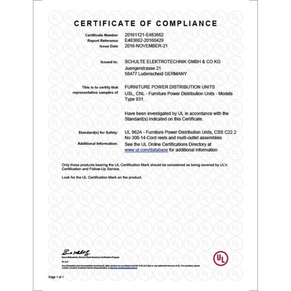 EVOline Port - UL certification - USA-UL-Type B version - EVOlineStore