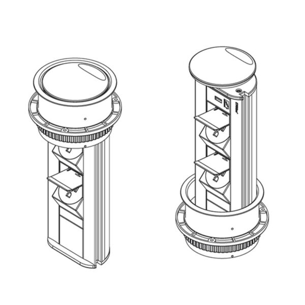 EVOline Port - drawing pop up socket - USA-UL-Type B version - EVOlineStore