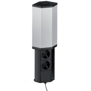 EVOline V-Port Charger / Black / Stainless steel / 2x socket / 1x USB-0