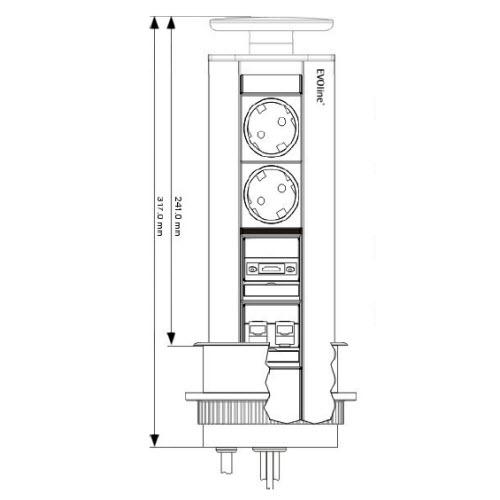 EVOline Port MULTIMEDIA 2x Power / 1x HDMI / 2x DATA / Silver-1684