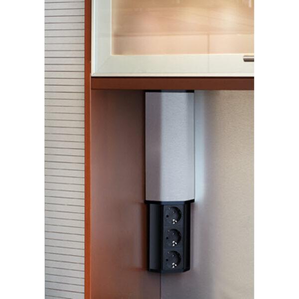 EVOline V-Port, Black aluminum / Stainless steel / 2x socket SoftTouch-2484