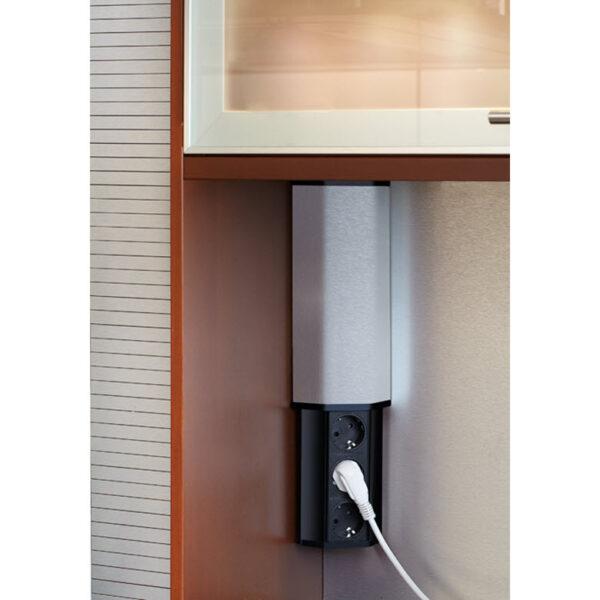 EVOline V-Port, Black aluminum / Stainless steel / 2x socket SoftTouch-2485