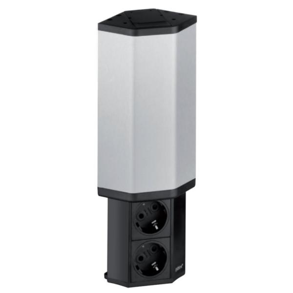 EVOline V-Port, Black aluminum / Stainless steel / 2x socket SoftTouch-0
