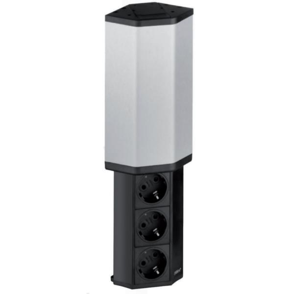 EVOline V-Port / Black anodized aluminum / Stainless steel / 3x socket-0