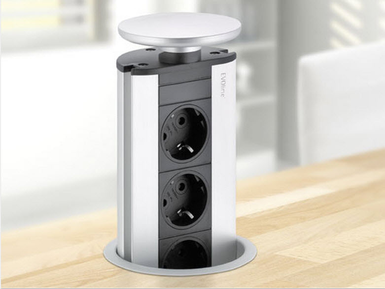 EVOline Port DATA / Stainless steel / 3x pop up socket / 2x RJ45-2478