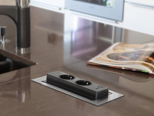 EVOline Backflip stainless steel / 2x power socket / 1x USB Charger-2542