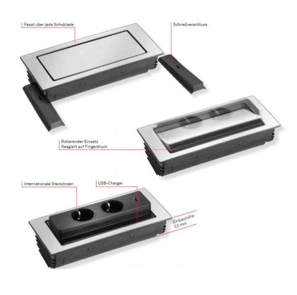 EVOline Backflip stainless steel / 2x power socket / 1x USB Charger-3037