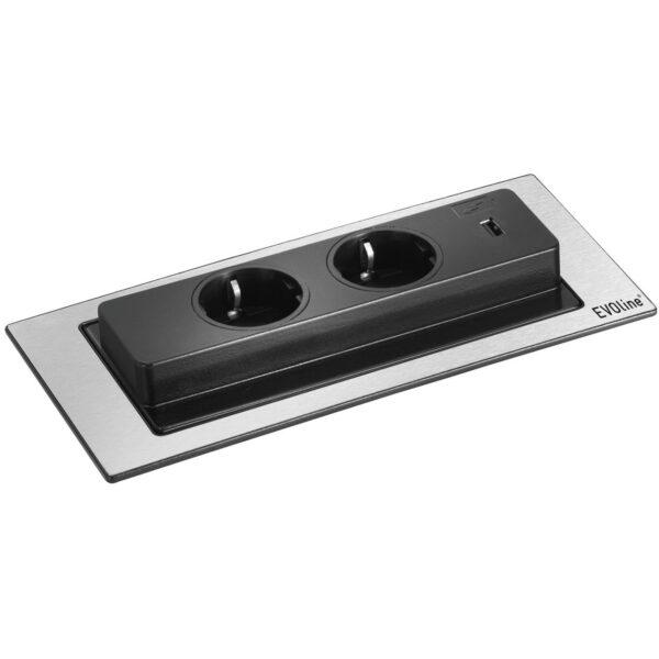 EVOline Backflip stainless steel / 2x power socket / 1x USB Charger-3361
