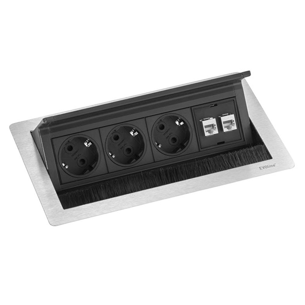 "Featured image for ""EVOline Fliptop Push Data M / Netbox 3x power socket / 2x RJ45"""