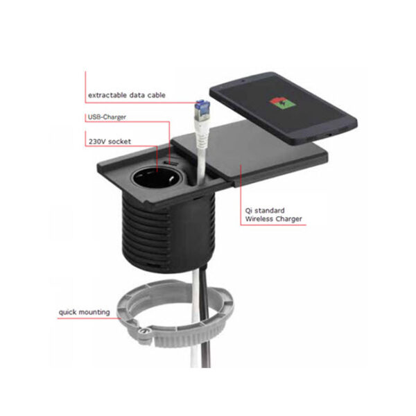 EVOline Square80 / 1x Qi / 1x power / 1x USB charger / 1x RJ45 / Black-2821