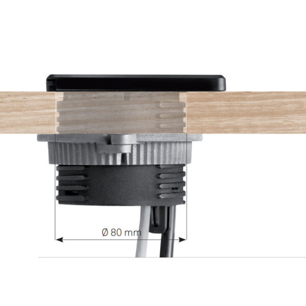EVOline Square80 / 1x Qi / 1x power / 1x USB charger / 1x RJ45 / Black-2826