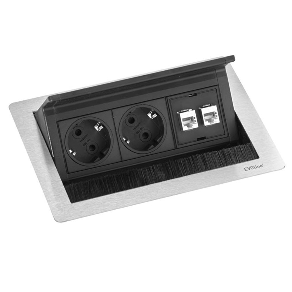 "Featured image for ""EVOline Fliptop Push Data S / Netbox 2x power socket / 2x RJ45"""