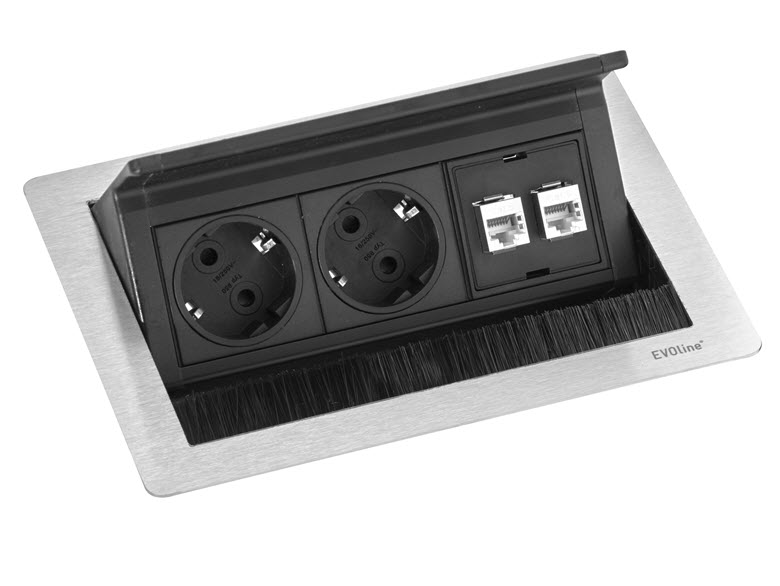 EVOline Fliptop Push Data S / Netbox 2x power socket / 2x RJ45-0