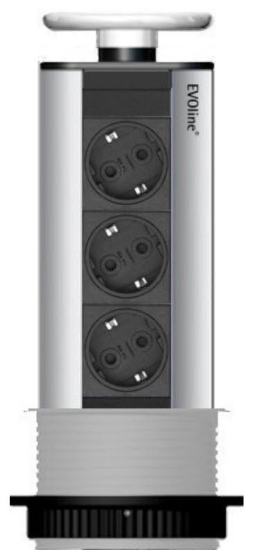 EVOline Port / White / 3x pop up socket-2960