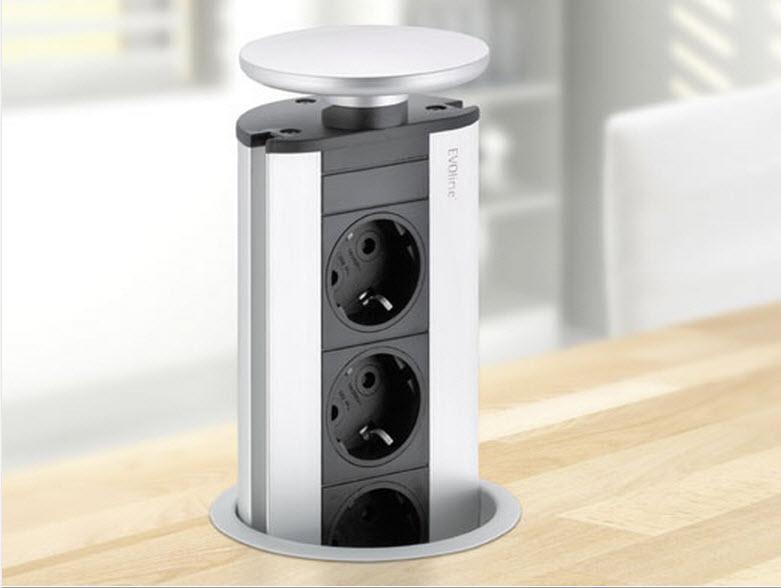 EVOline Port / White / 3x pop up socket-2949