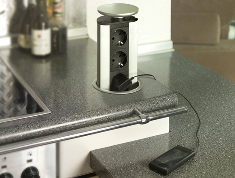 EVOline Port / White / 3x pop up socket-2945
