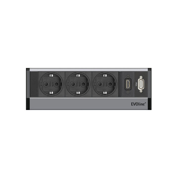 EVOline R-Dock Multimedia / 3x socket / 1x HDMI / 1x VGA / Sides Black-3164