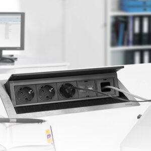 EVOline FlipTop Push M / Netbox / 2x pwr / 2x RJ45 / HDMI / USB 3.0-3202