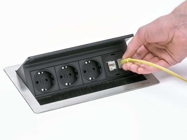 EVOline FlipTop Push M /Netbox /2x pwr /1x RJ45 /VGA /Audio /HDMI-3230