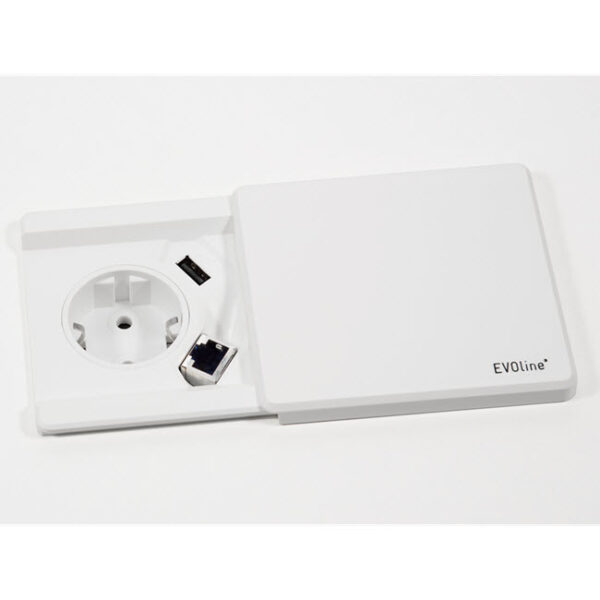 EVOline Square 80 with Qi charger / 1x power / 1x USB charger / White-0