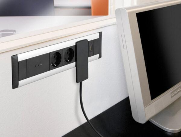 EVOline FrameDock SMALL / black anodised / 3x power socket-3327