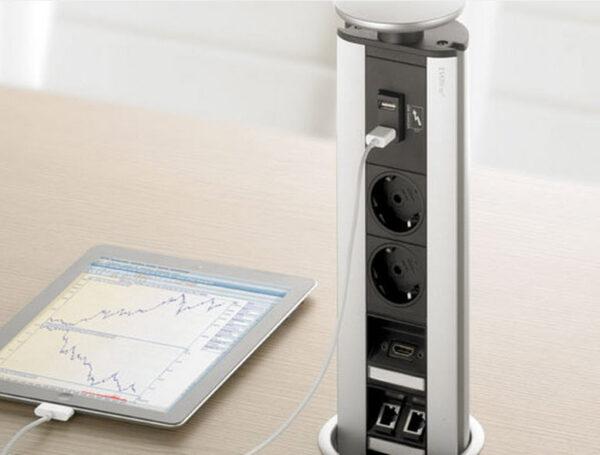 EVOline Port / Silver / 2x pop up socket (B/F) pin-grounding version-3385