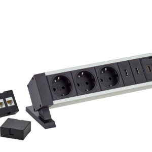 EVOline Dock Square / 2x power / 1x USB charger / Free slot / Silver-3411