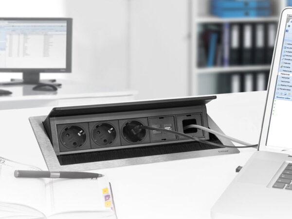 EVOline Fliptop Push S / Netbox 3x power socket / Black painted-3414