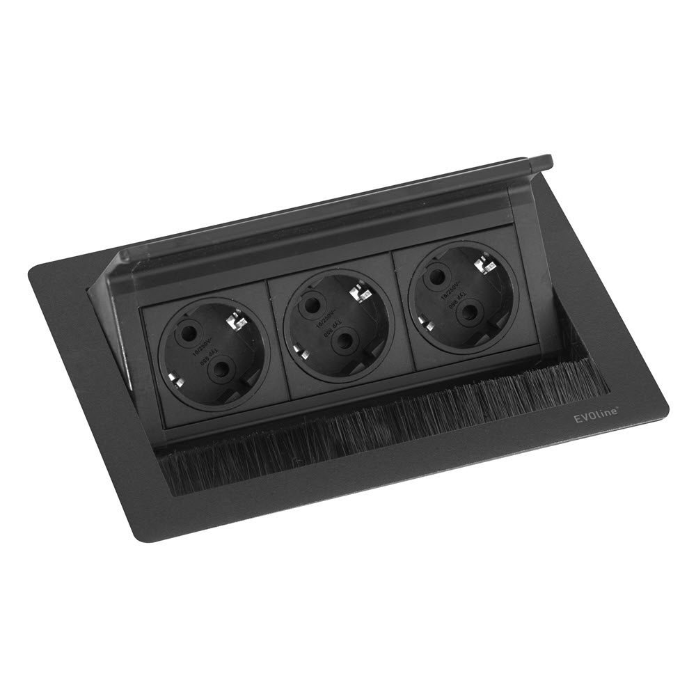 "Featured image for ""EVOline Fliptop Push S / Netbox 3x power socket / Black painted"""