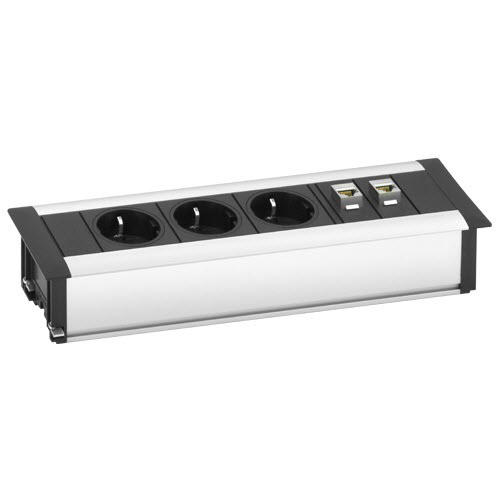 EVOline FrameDock DATA / white painted / 3x power socket / 2x RJ45-0