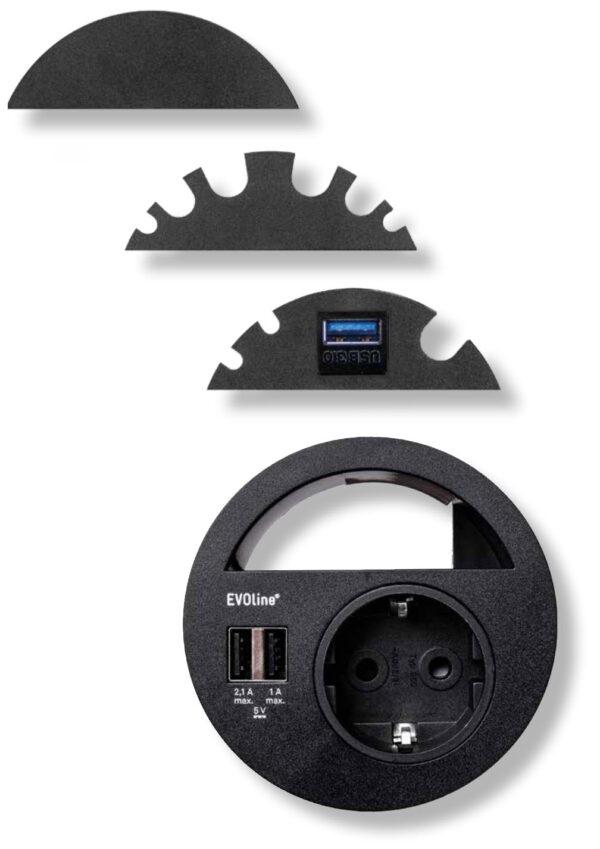 EVOline Circle80 + modules - black - EVOlineStore