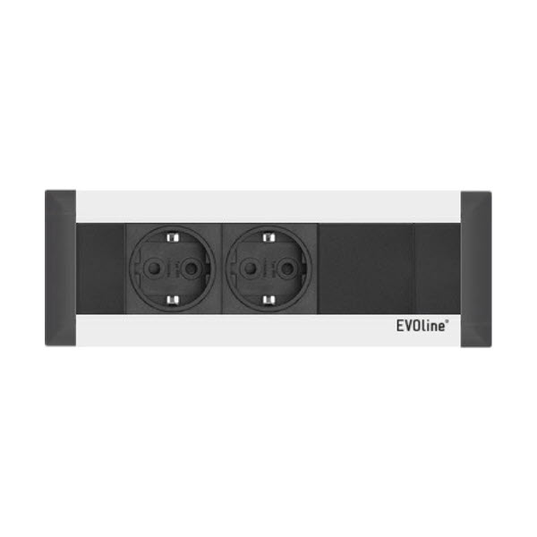 """Featured image for """"EVOline FrameDock 2-1 silver / 2x power socket / 1x Free Space"""""""
