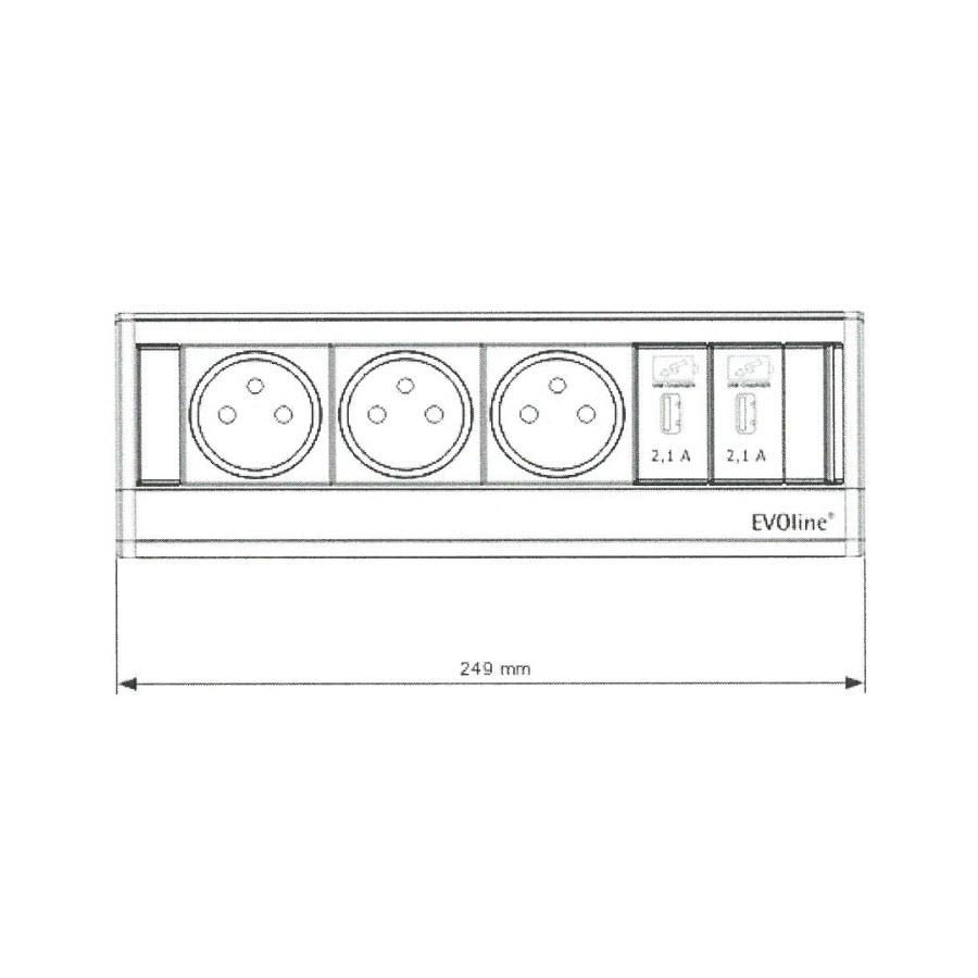 EVOline Dock BF 3x power 2x USB size - EVOlineStore