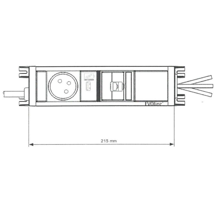 EVOline U-Dock (BF) 1x power 1x USB charger 1x RJ45 size - EVOlineStore