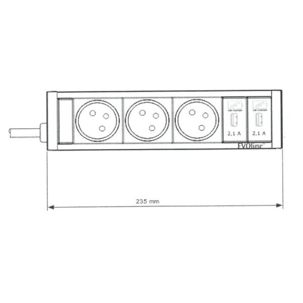 EVOline U-Dock (BF) 3x power 2x USB charger size - EVOlineStore