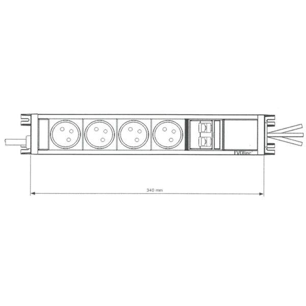 EVOline U-Dock (BF) 4x power 2x RJ45 size - EVOlineStore