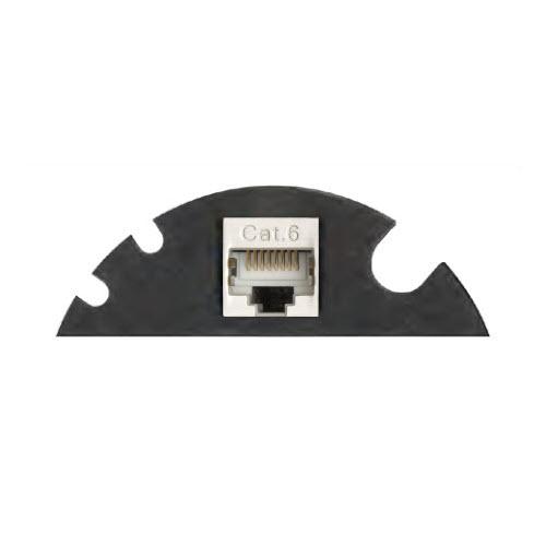 EVOline Circle80 - 3fold cable guide + RJ45 - Black - EVOlineStore