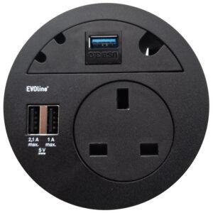 EVOline Circle80 - 3fold cable guide + multimedia - Black - EVOlineStore