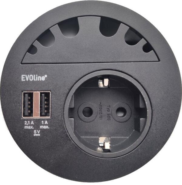 EVOline Circle80 - 6fold cable guide - Black - EVOlineStore
