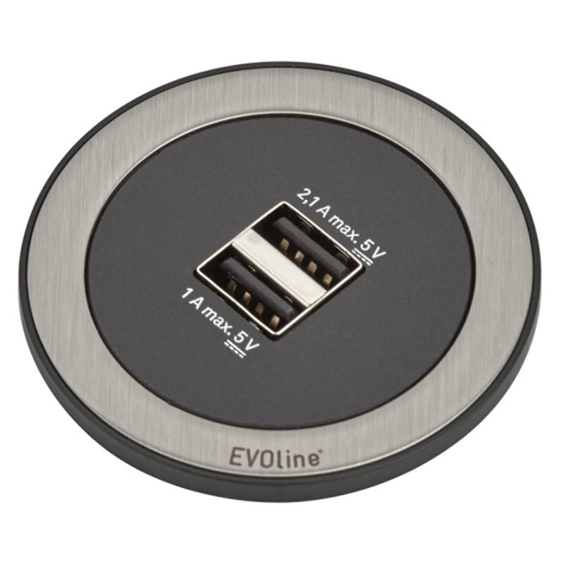EVOline One - Double USB charger Stainless Steel2 - EVOlineStore