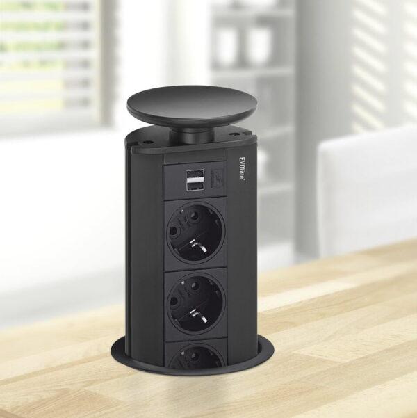 EVOline Port USB charger full black - EVOlineStore