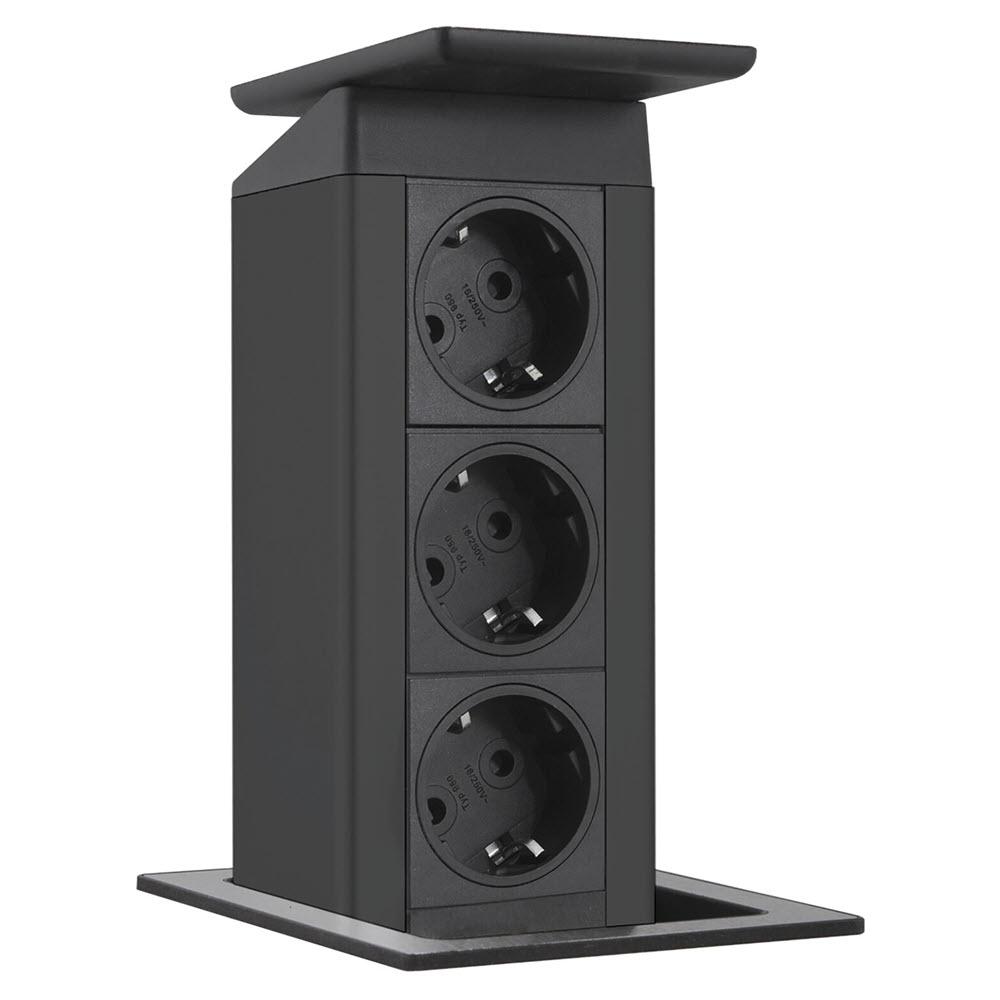 "Featured image for ""EVOline Port Push / 3x pop up socket / Full Black"""